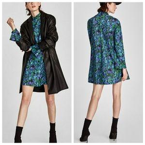 Zara | Blue Floral Print High Neck A-Line Dress